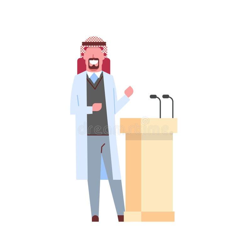 Doutor masculino árabe que dá o discurso da tribuna com o homem árabe dos microfones em desenhos animados do trabalhador da medic ilustração do vetor