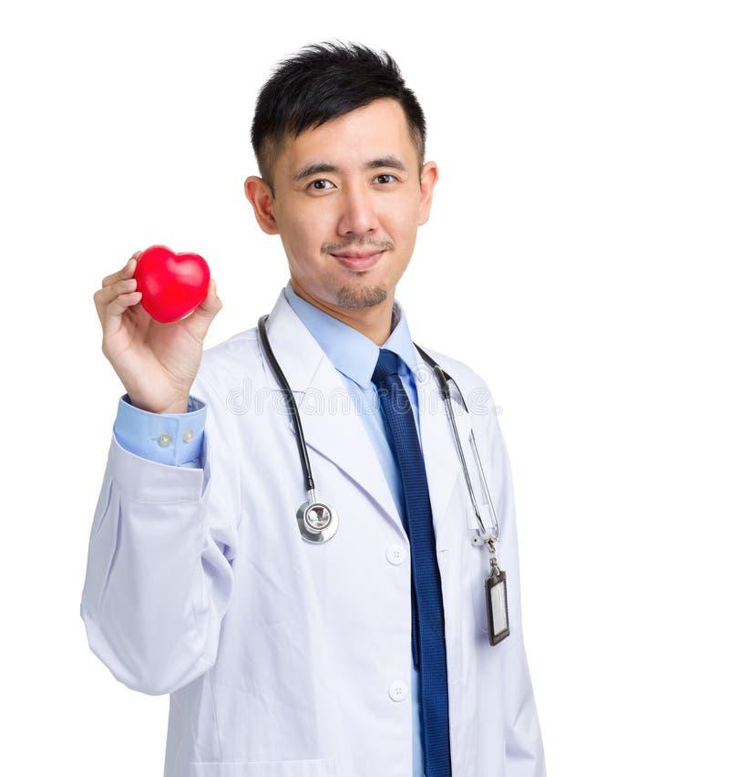 Doutor masculino com a bola da forma do coração fotografia de stock