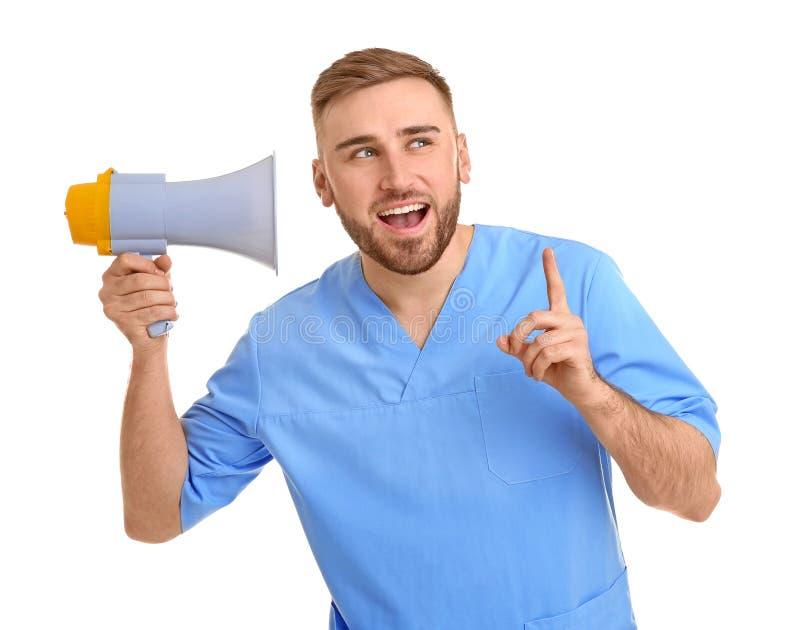 Doutor masculino com megafone fotografia de stock