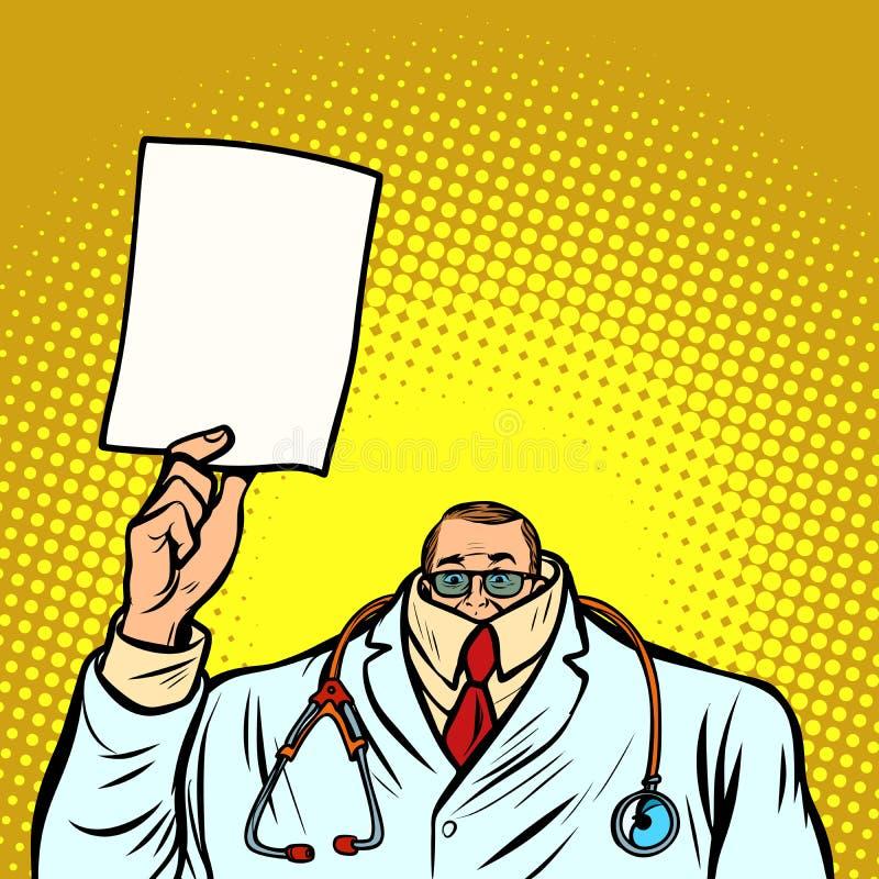 Doutor masculino cowardly da informação da ajuda Medicina e saúde ilustração stock
