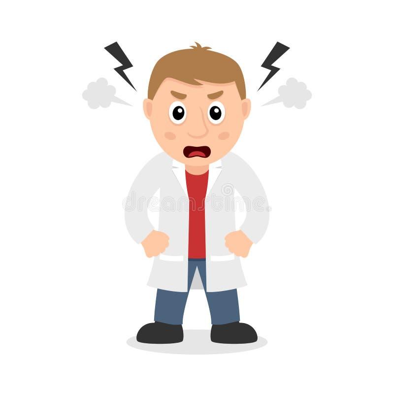 Doutor masculino irritado Cartoon Character ilustração royalty free