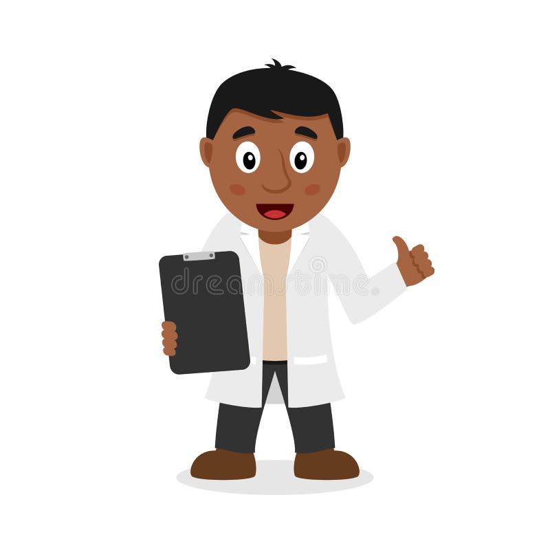 Doutor masculino preto Character com registros ilustração royalty free