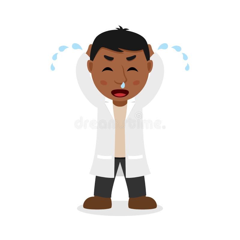 Doutor masculino preto de grito Cartoon Character ilustração royalty free