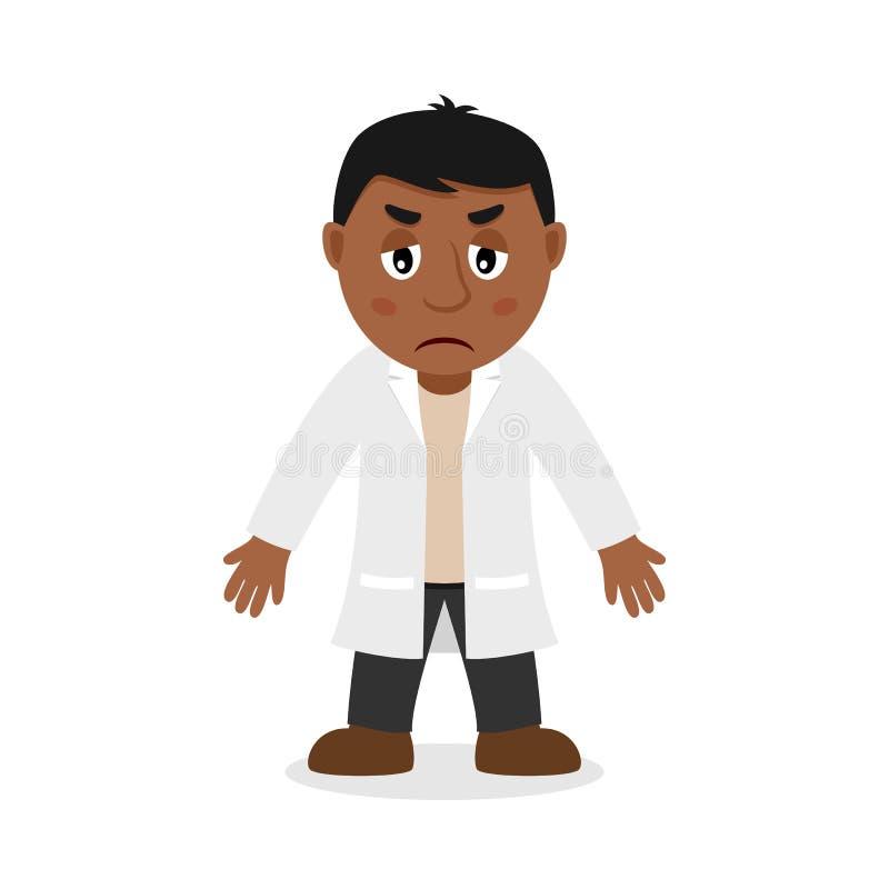 Doutor masculino preto triste Cartoon Character ilustração royalty free