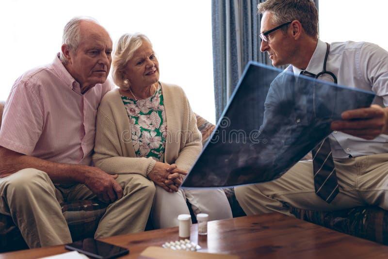 Doutor masculino que discute sobre o raio de x com os pares superiores foto de stock royalty free