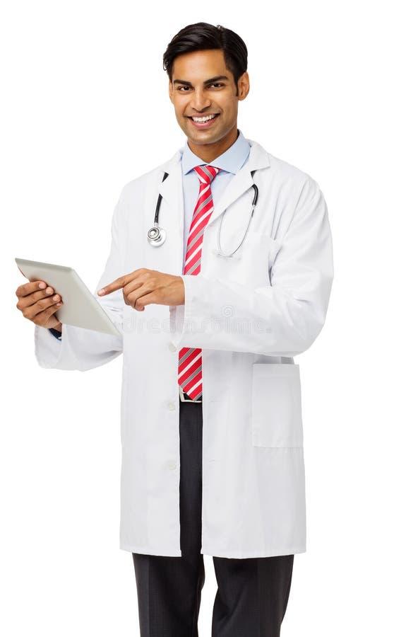 Doutor masculino seguro Holding Tablet Computer fotos de stock