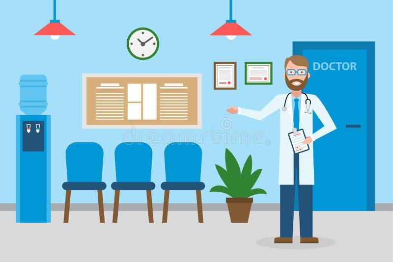 Doutor na sala de espera ilustração do vetor