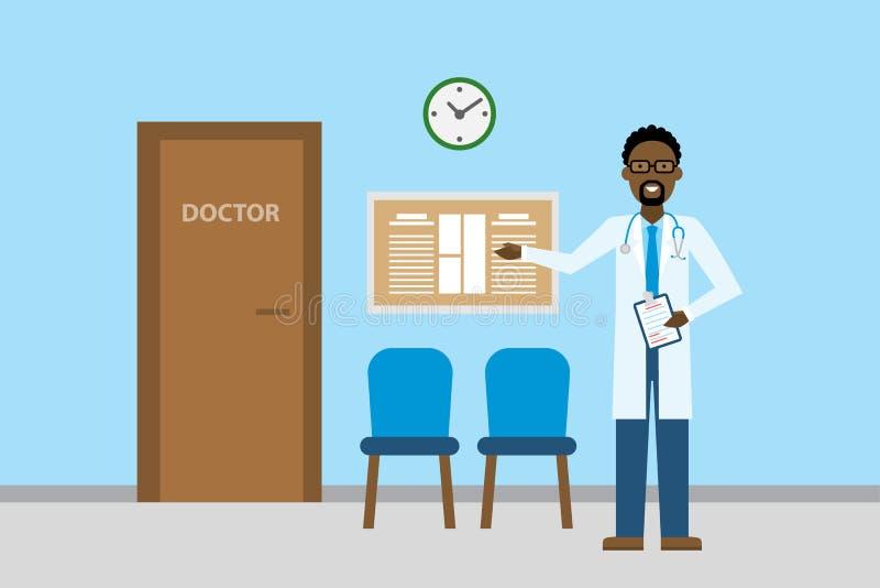 Doutor na sala de espera ilustração stock