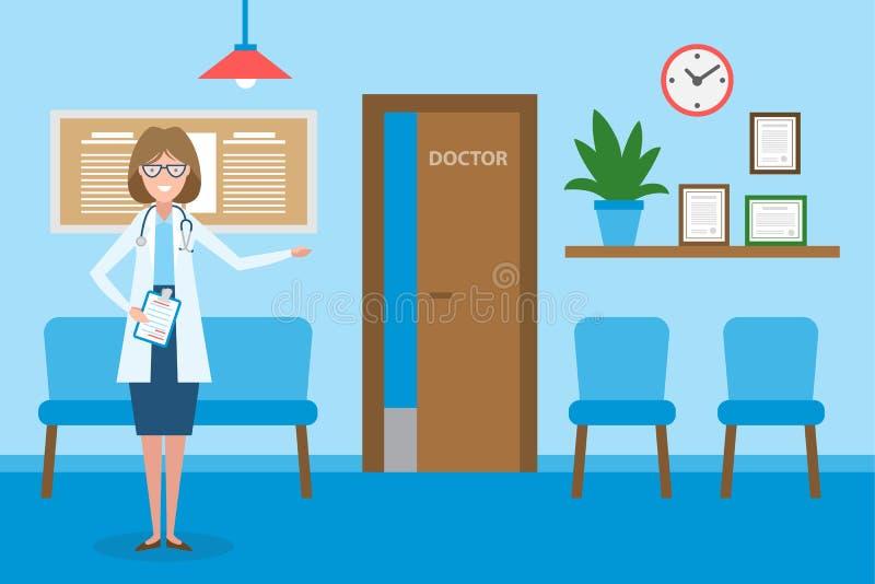 Doutor na sala de espera ilustração royalty free