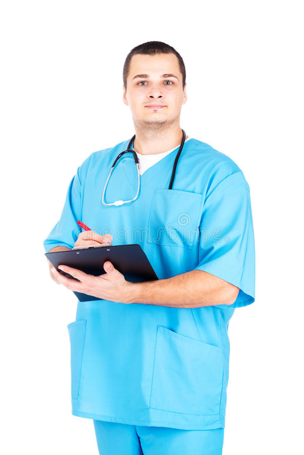 Doutor no fundo branco fotografia de stock royalty free