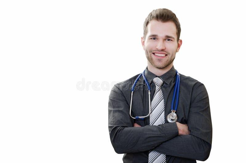 Doutor novo considerável em um fundo branco fotos de stock