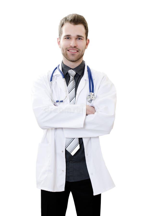 Doutor novo considerável em um fundo branco imagem de stock royalty free