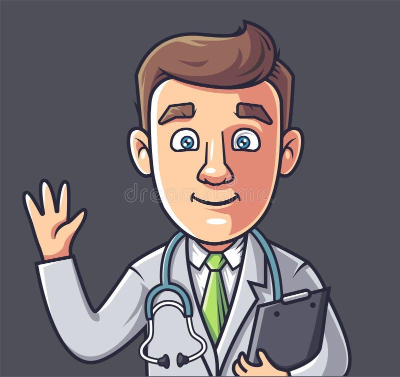 Doutor novo que acena sua mão ilustração stock