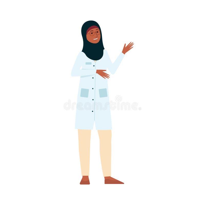 Doutor ou enfermeira fêmea com uniforme médico e hijab muçulmano que sorriem e que acenam ilustração royalty free