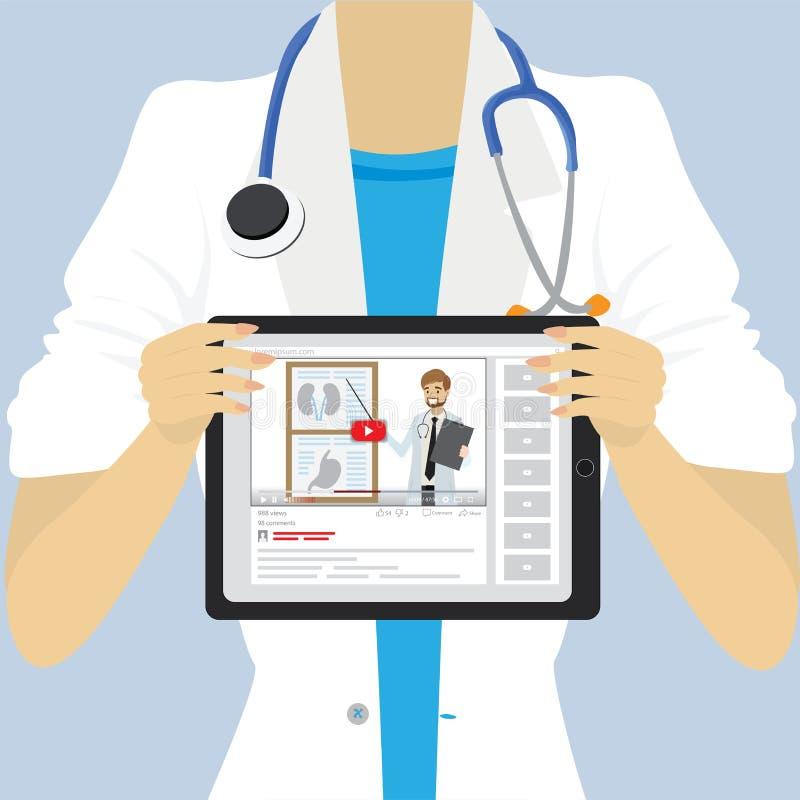 Doutor ou enfermeira fêmea que guardam o PC da tabuleta médica ilustração royalty free