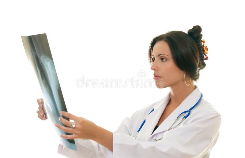 Doutor ou profissional médico que analisam o raio X de um paciente fotografia de stock royalty free