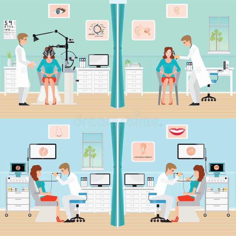 Doutor paciente de exame com endoscópio e Phoropter ilustração do vetor