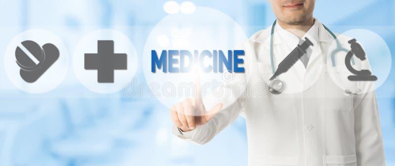 Doutor Points na MEDICINA com ?cones m?dicos fotografia de stock royalty free