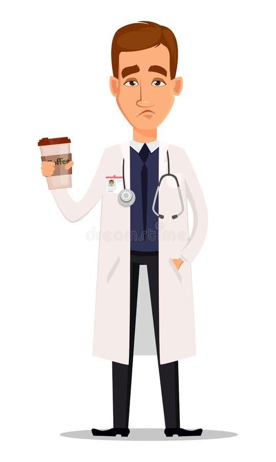 Doutor profissional novo que guarda a xícara de café, cansado após har ilustração royalty free