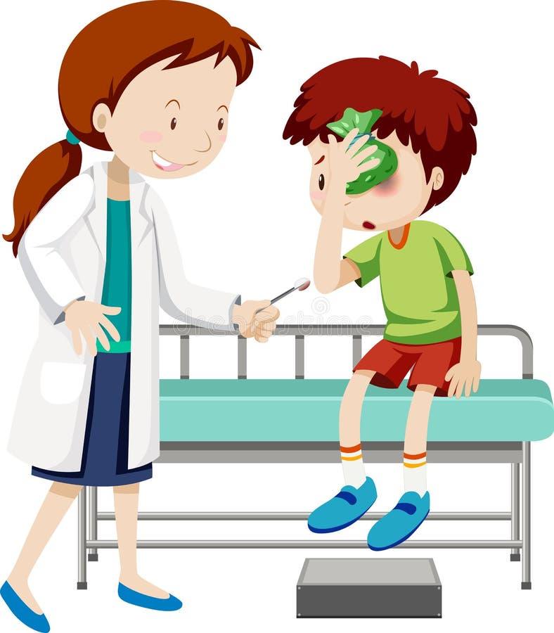 Doutor que ajuda o menino ferido ilustração royalty free