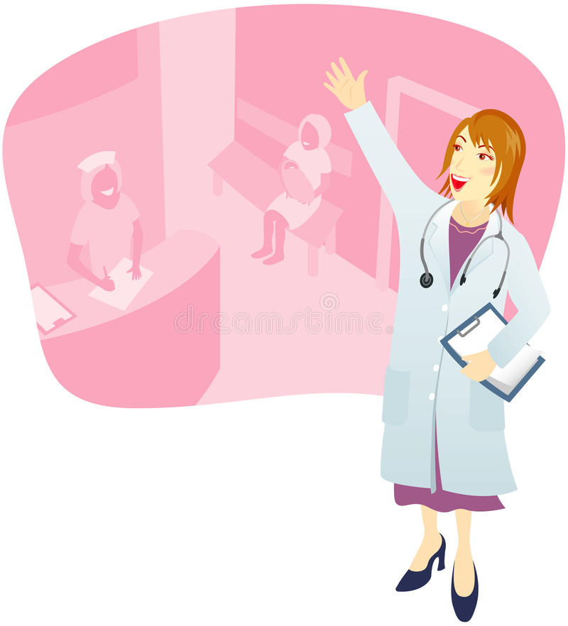 Download Doutor Que Dá Boas-vindas Ao Paciente Ilustração do Vetor - Ilustração de stethoscope, mulher: 12805426