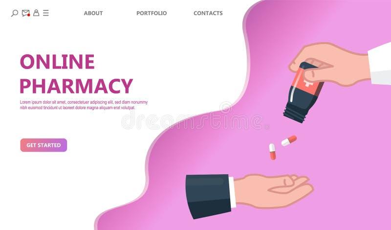 Doutor que dá a comprimidos o conceito paciente ilustração stock