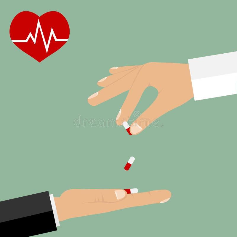 Doutor que dá comprimidos a um paciente Um coração doente, um cardiograma ilustração royalty free