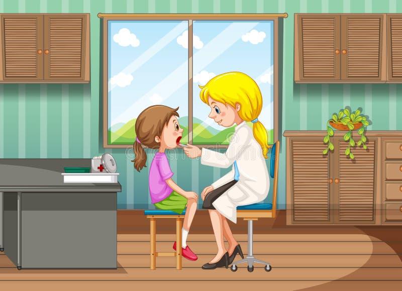 Doutor que dá o tratamento à menina na clínica ilustração do vetor