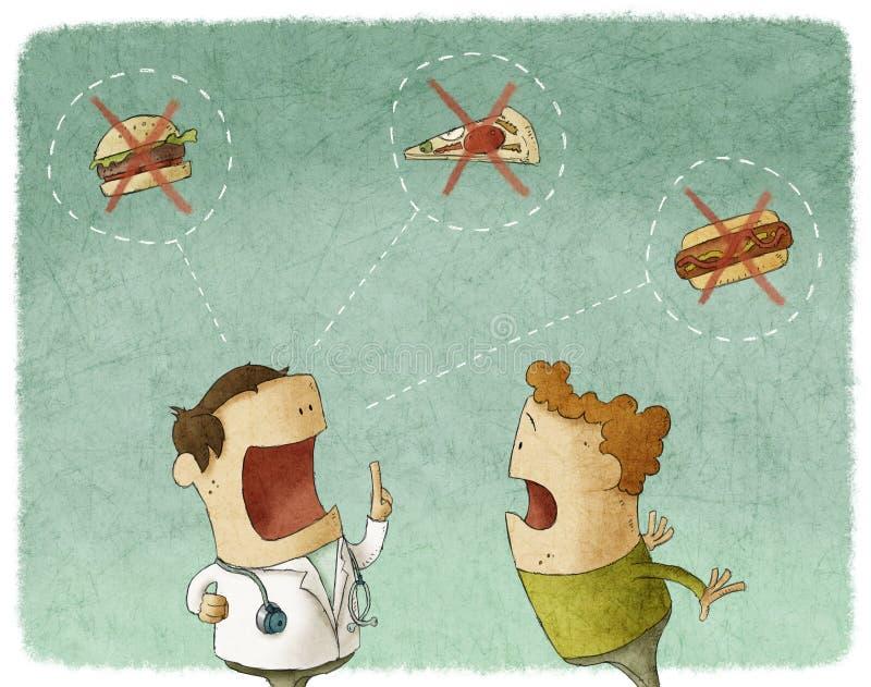 Doutor que fala ao paciente para não comer o alimento insalubre ilustração stock