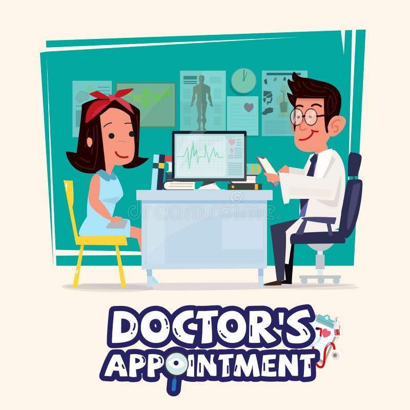 Doutor que fala com paciente fêmea conceito da nomeação do ` s do doutor ilustração do vetor