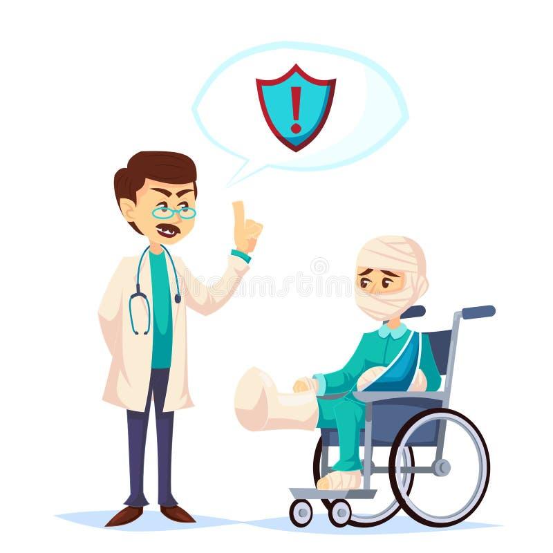 Doutor que fala sobre a segurança da cobertura de seguro com vestir ferido triste do homem moldado e a atadura na cadeira de roda ilustração stock