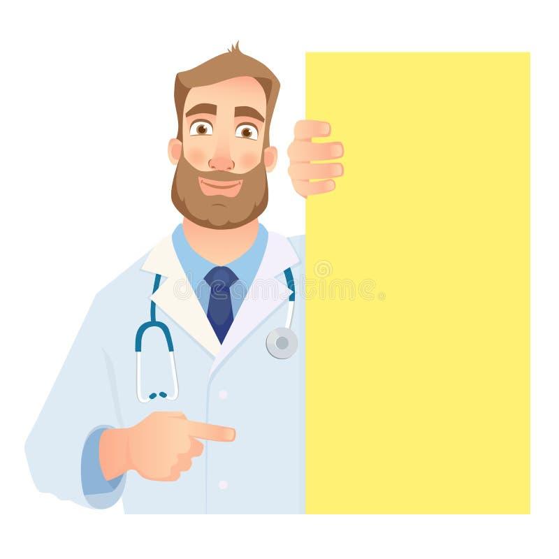 Doutor que guarda o quadro indicador vazio ilustração royalty free