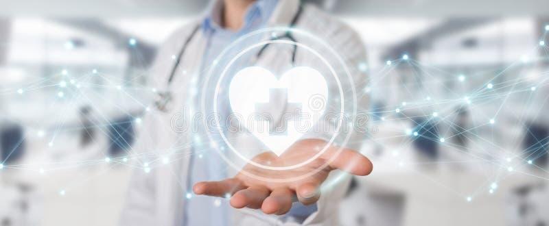 Doutor que guarda a rendição da relação digital 3D da pulsação do coração ilustração royalty free