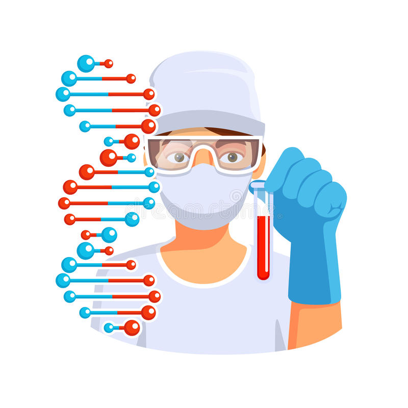 Doutor que mantém o tubo de ensaio com ADN do sangue disponivel ilustração stock