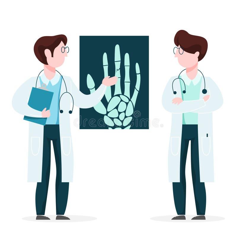 Doutor que olha o raio X Trabalhador da medicina para fazer o exame ilustração royalty free