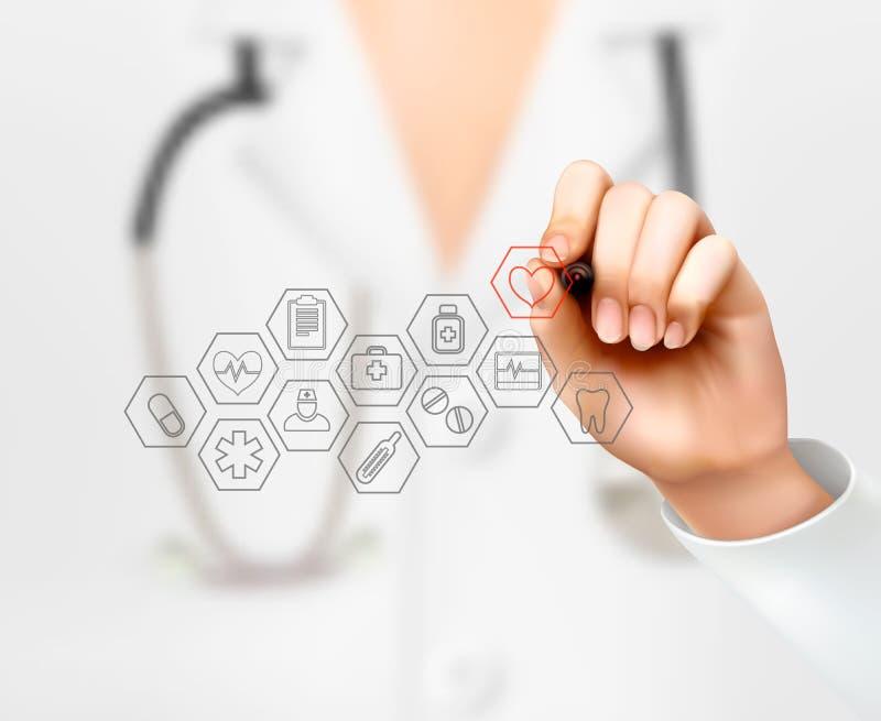 Doutor que tira ícones médicos Conceito da saúde
