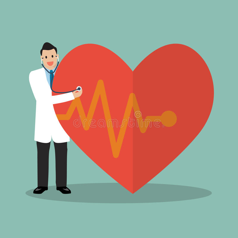 Doutor que usa o estetoscópio com coração grande ilustração stock