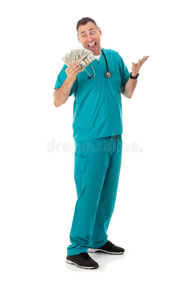 Doutor: Rich Doctor Waving Cash Money ao redor foto de stock royalty free
