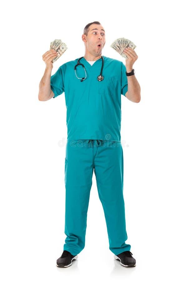 Doutor: Rich Doctor Waving Cash Money ao redor fotos de stock royalty free