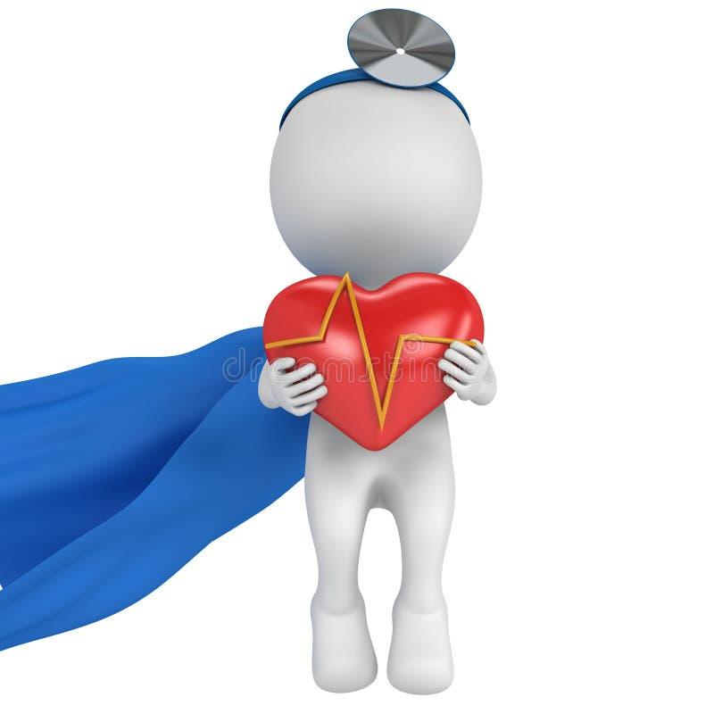 Doutor super com um coração vermelho com cardiograma ilustração do vetor