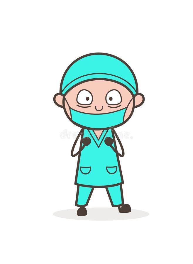 Doutor temível Face Vetora Illustration dos desenhos animados ilustração royalty free