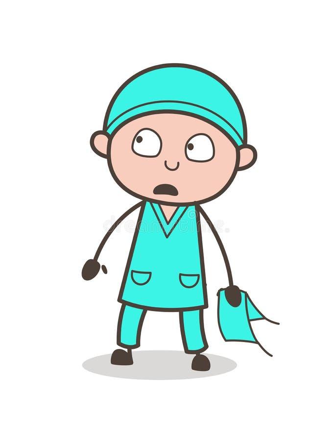Doutor temível inocente Face Vetora Illustration dos desenhos animados ilustração stock
