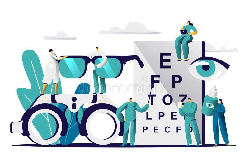 Doutor Test Myopia Eye do oftalmologista Oculista masculino com optometria do controle do ponteiro para monóculos Ótico médico ilustração royalty free