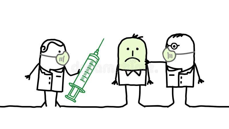 Doutores & doença da gripe ilustração do vetor