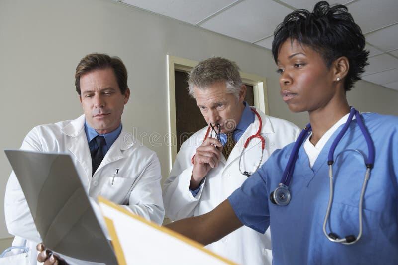 Doutores Analyzing Raio X Relatório fotografia de stock