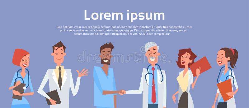 Doutores centrais Mão Agitação Team Clinics Hospital do grupo ilustração stock