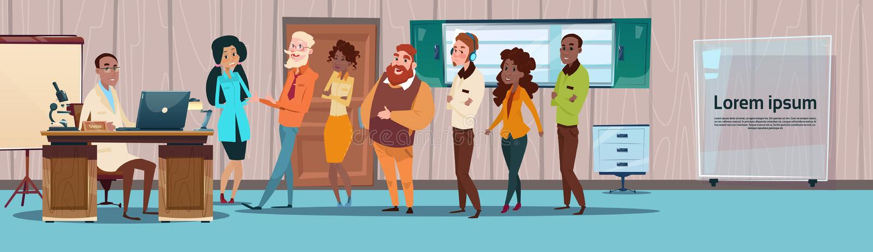 Doutores centrais Team Hospital Cabinet Interior do grupo ilustração royalty free