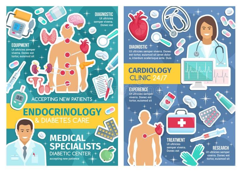 Doutores da clínica da cardiologia e da endocrinologia, comprimidos ilustração royalty free
