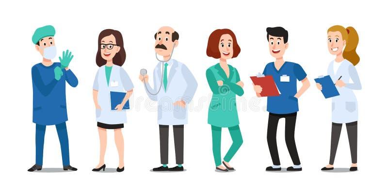 Doutores da medicina Médico, enfermeira do hospital e doutor médicos com estetoscópio Vetor dos desenhos animados dos trabalhador ilustração stock