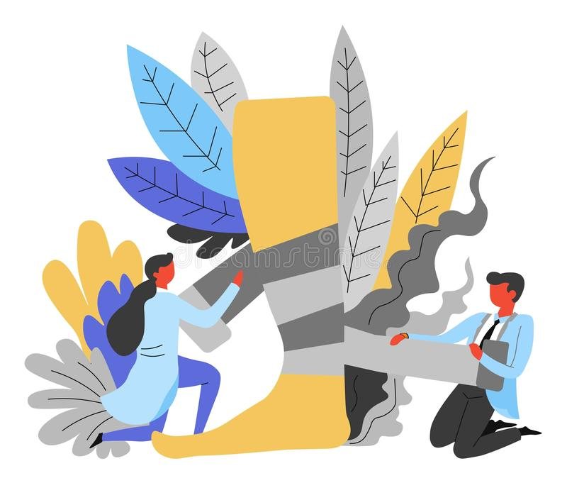 Doutores do Traumatology que enfaixam traumatologists da lesão no calcanhar do pé ilustração royalty free